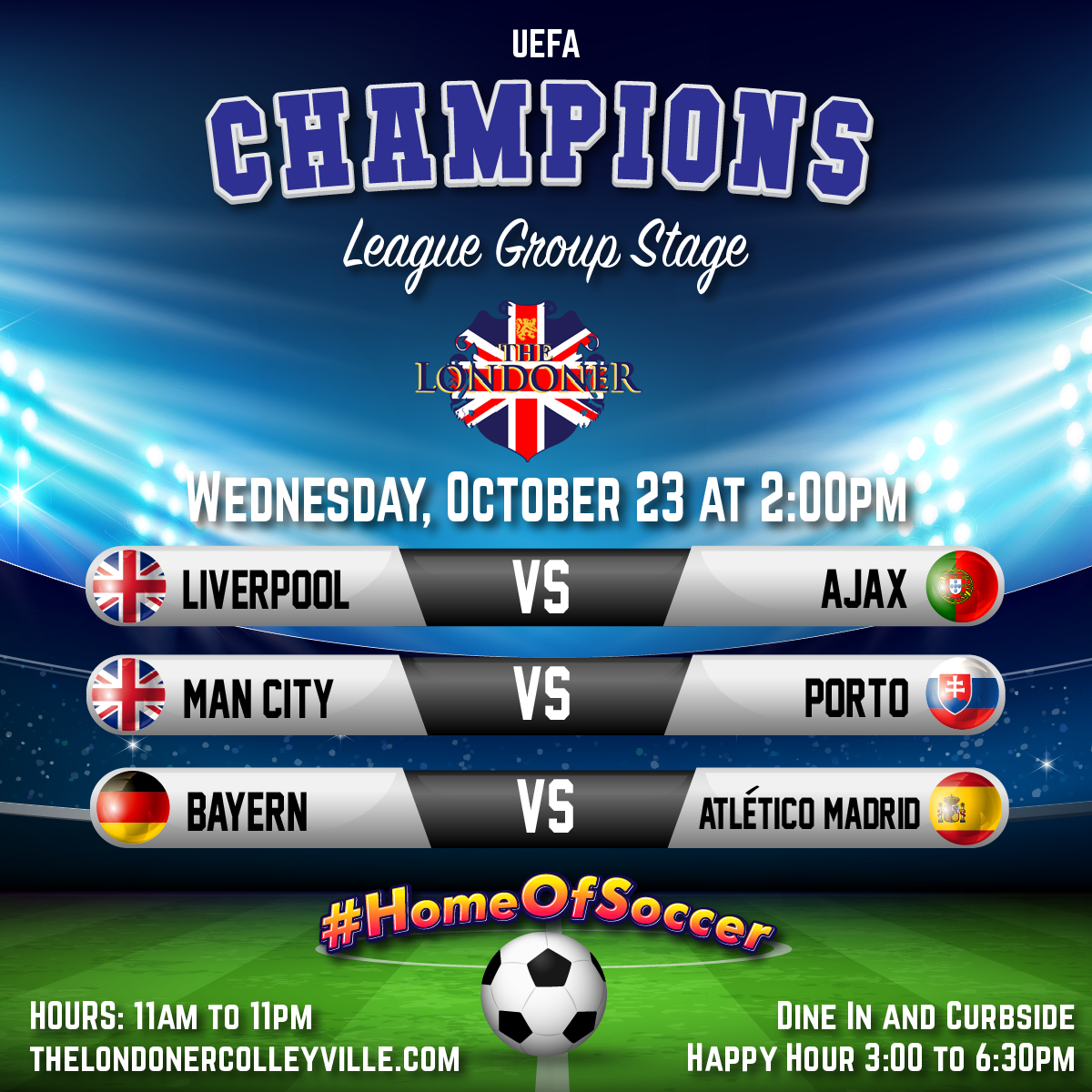 The Londoner Pub UEFA Champions League Group Stage October 21 2020